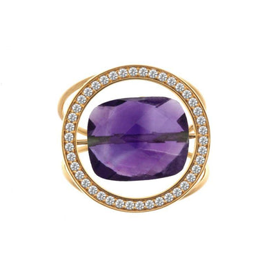 paola zovar gold ring and diamond amethyst stone
