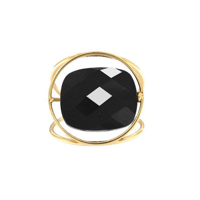 paola zovar gold ring square stone black onyx