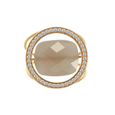 paola zovar ring gold diamond moonstone chocolate