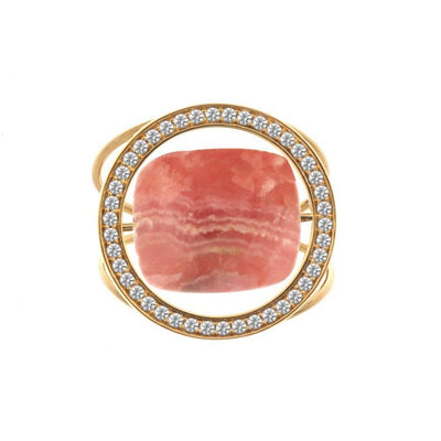 paola zovar bague or diamant pierre rhodochrosite