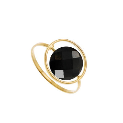 paola zovar gold ring black onyx stone
