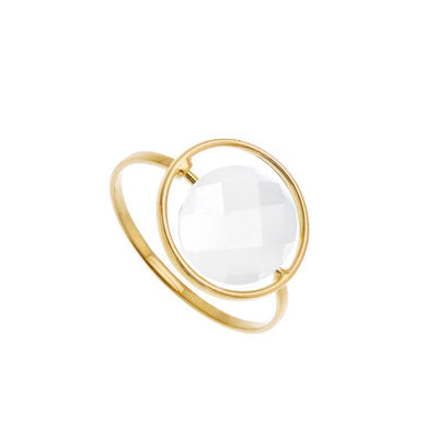 paola zovar gold ring white agate stone