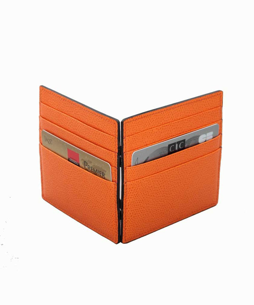 orange leather card and bill holder