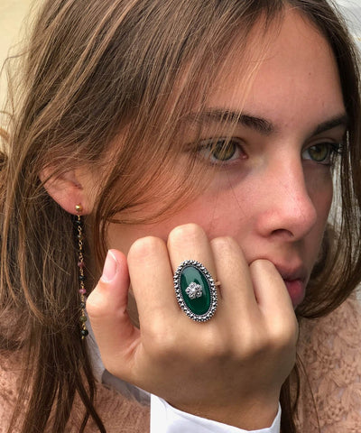 Marcasite green agate ring and cultured cultured pearl art deco