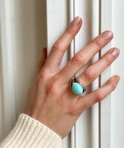 Amazonite oval art deco ring in 925 silver and marcasites