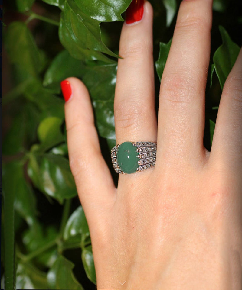 Art deco aventurine ring in 925 silver and marcasites
