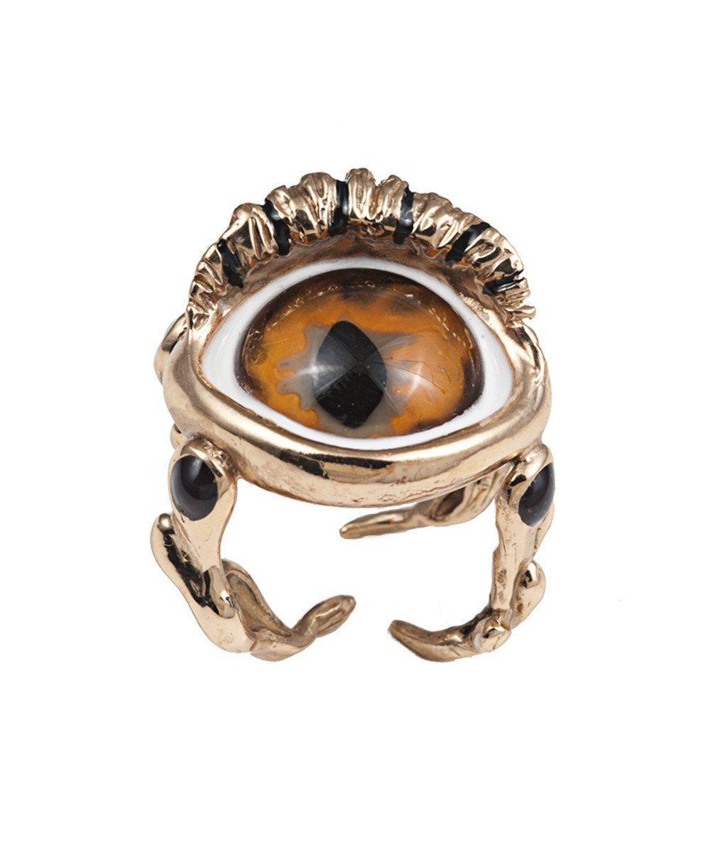 Bronze Snake Eye Ring - Orange Designer Ring