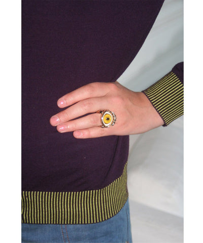 Bronze snake eye ring - Designer yellow worn ring