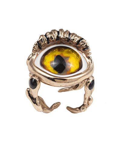Bronze Snake Eye Ring - Designer Yellow Ring
