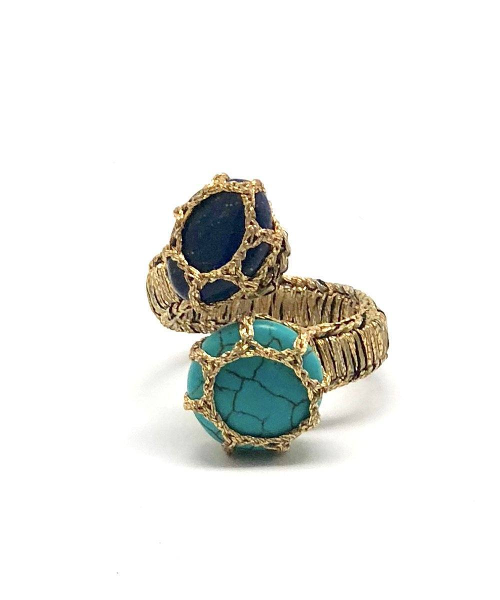 Turquoise and lapis ring, You and Me Cancun - Boks & baum