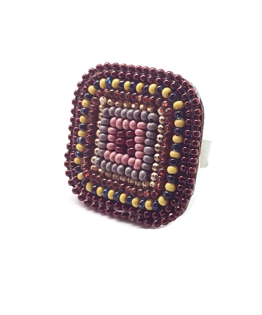 big-ring-square-bordeaux Editions LESSisRARE Jewels