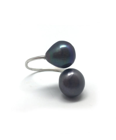 Ring Toi et Moi pearls gray Editions LESSisRARE Pearls