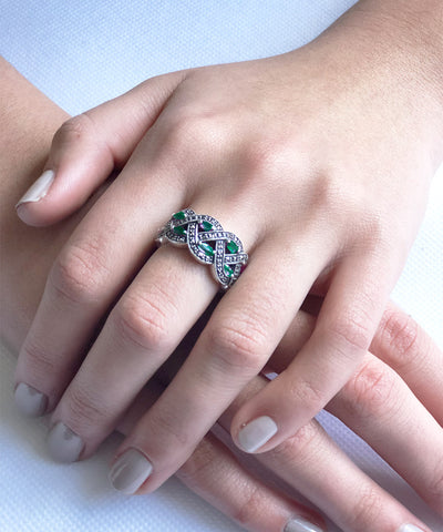 Marcasite and Emerald Ring Art Deco designer 1 scope