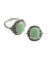 Jade ring in 925 silver and marcasites in old style