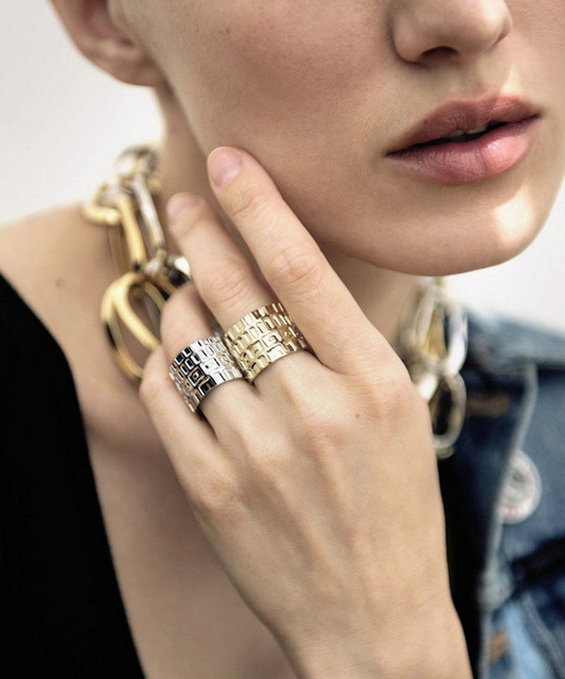 Golden Gearing Wide Ring - Isabelle Michel