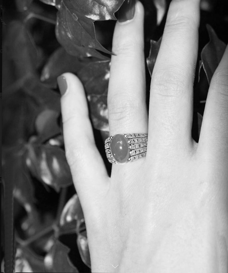 silver jade art deco marcasite ring front and side