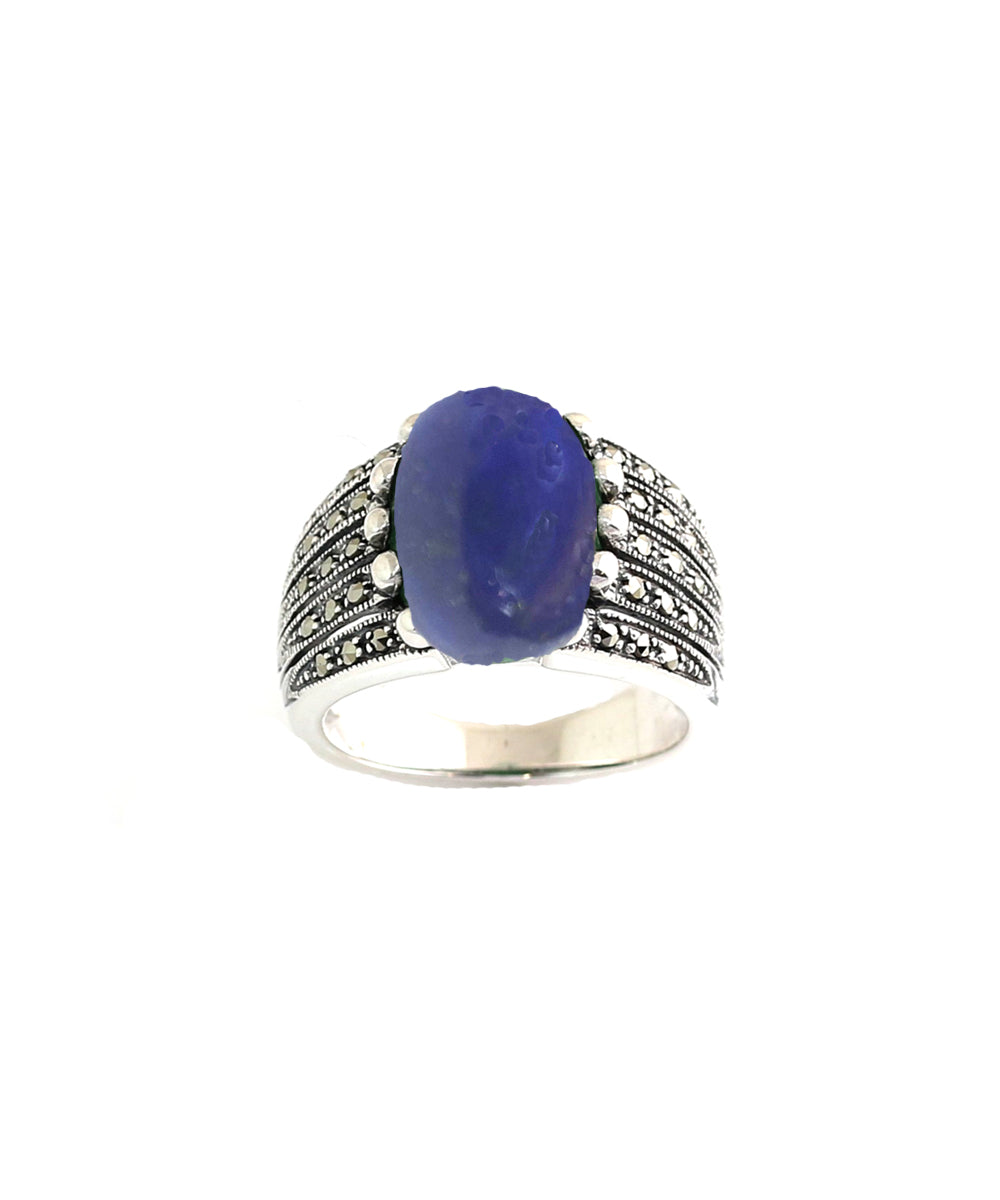 Art Deco lapis lazuli ring in 925 silver and marcasites