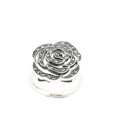 Rose flower ring in silver and marcasites creator art deco
