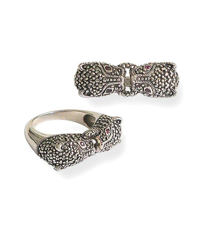 Panther silver ring, marcasite and ruby ​​art deco designer