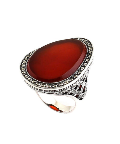 big-ring-cabochon-in-carnelian-silver-and-marcasites art deco profile