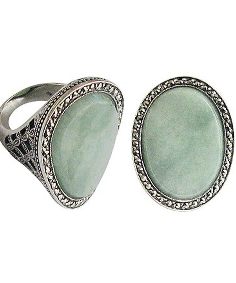 Large art deco jade ring in silver and marcasites