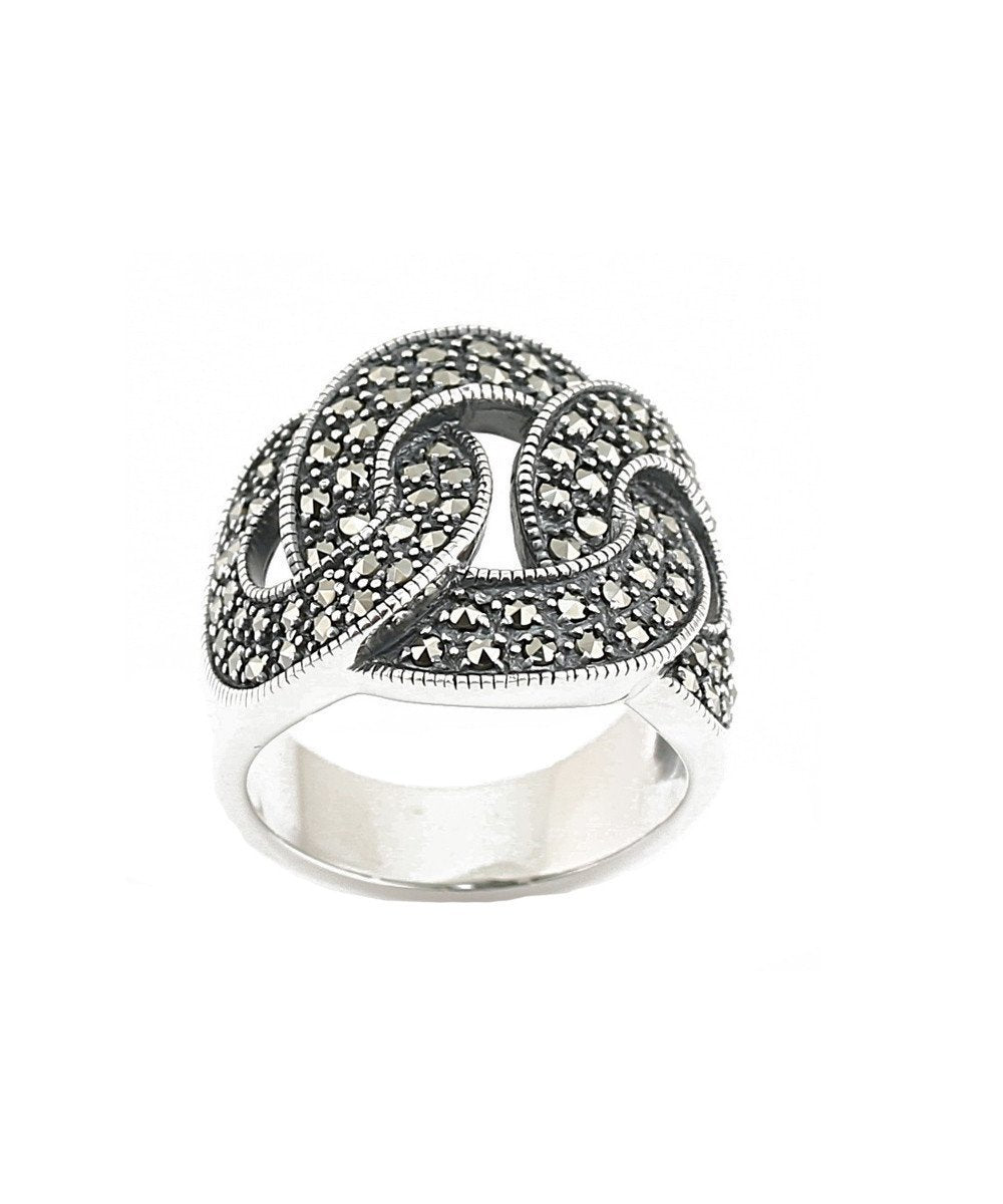 Silver and marcasite chain ring creator art deco