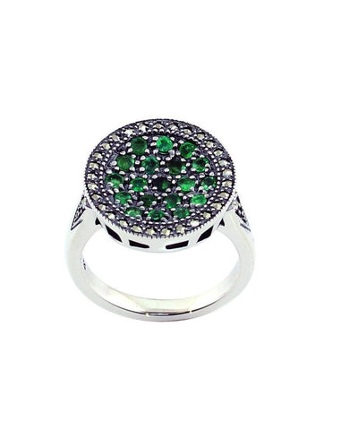 Emerald round ring, silver and marcasite creator art deco
