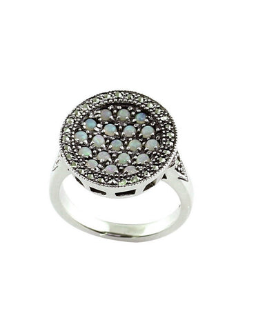 Round ring opals, silver and marcasites creator art deco