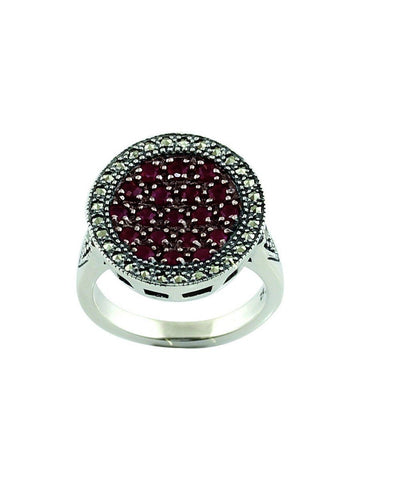 Round ruby, silver and marcasite ring creator art deco