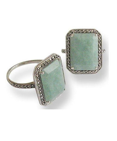 Art deco ring in jade, marcasite and designer silver on the side