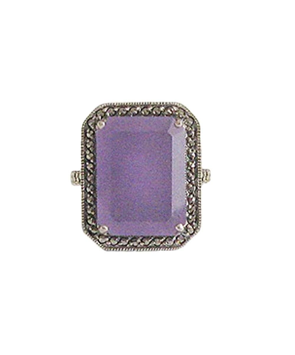 Art deco ring lavender jade, marcasite and silver creator
