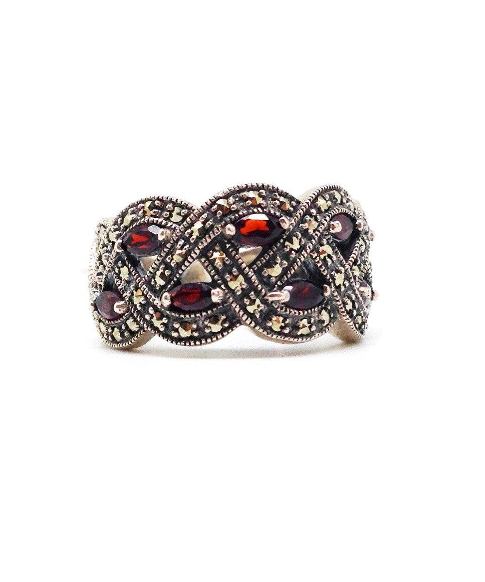 Marcasite ring, silver and garnets art deco designer