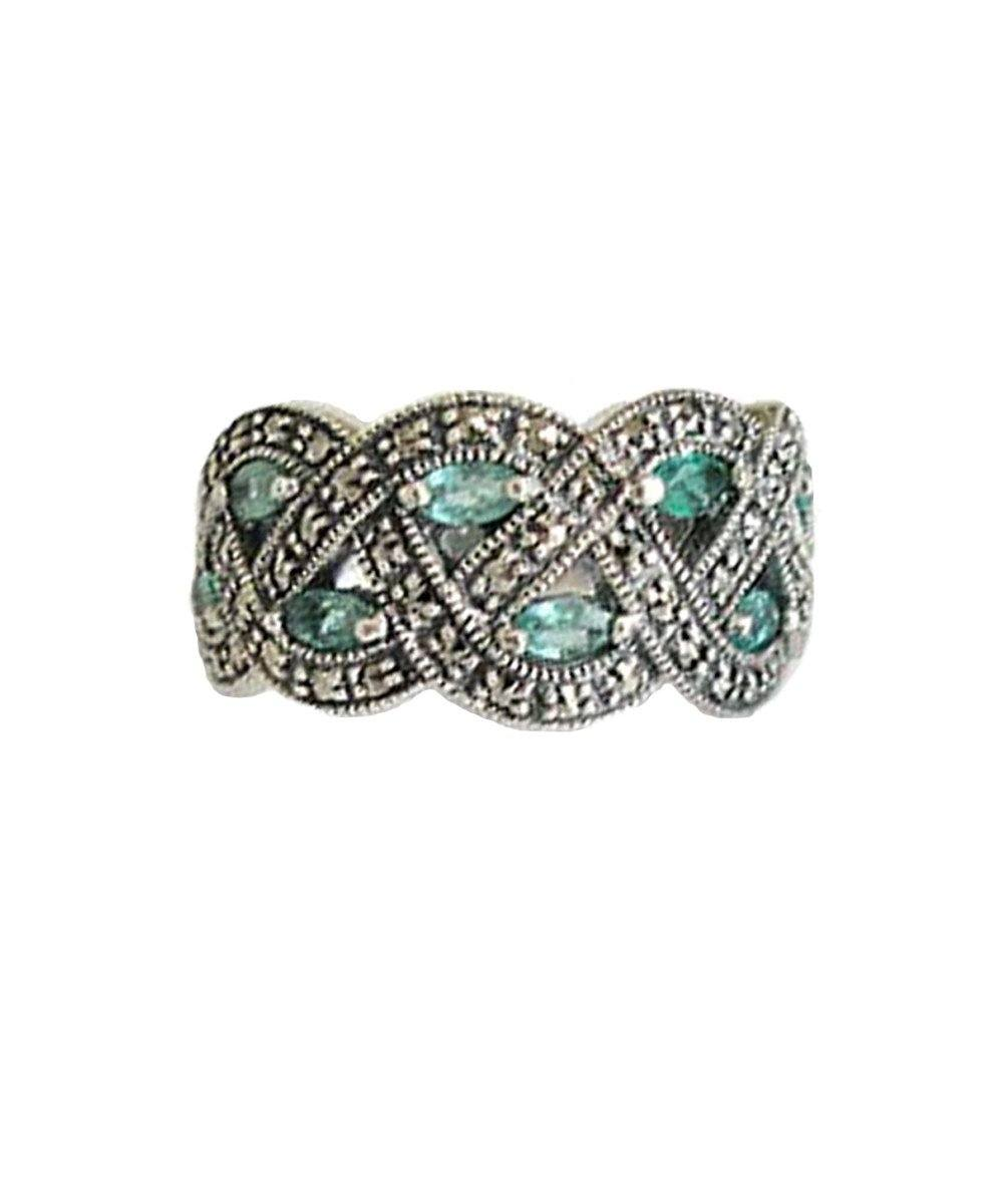 Marcasite silver ring and emeralds art deco creator