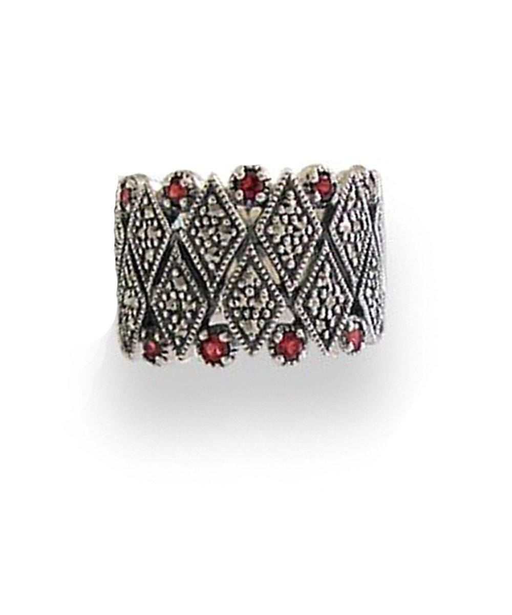 Marcasite silver ring and garnets art deco designer
