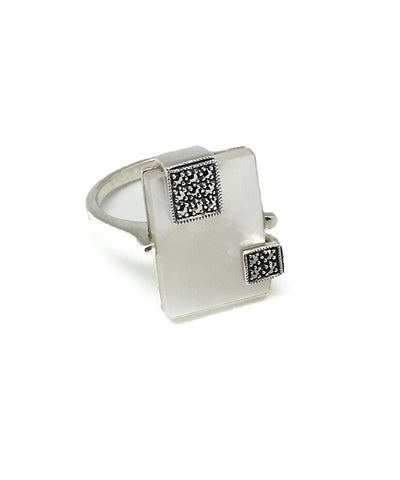 Rectangle ring mother of pearl silver and marcasite creator art deco