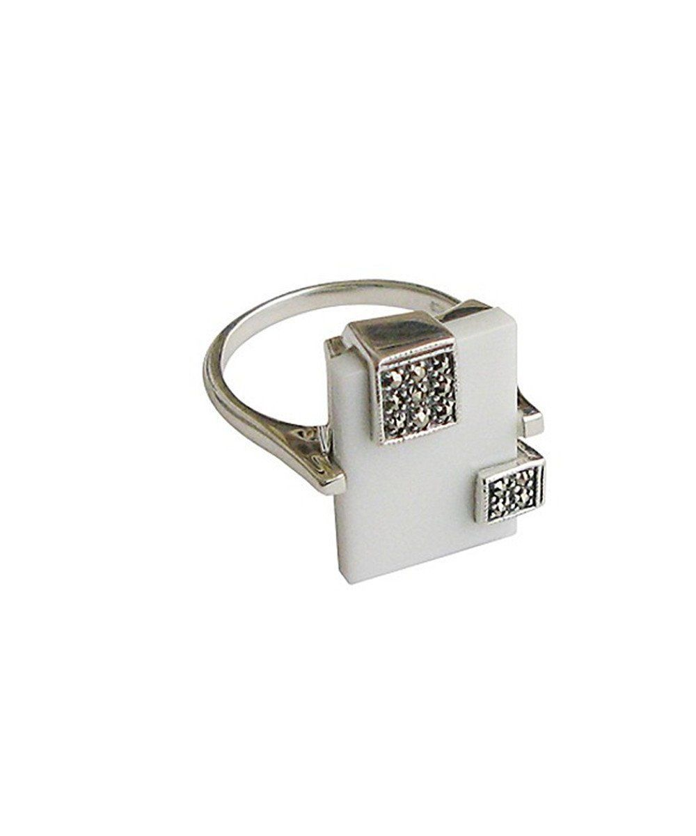Art Deco rectangle white agate ring in silver and marcasites