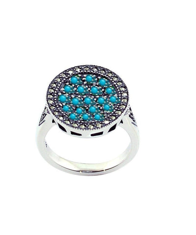 Turquoise, silver and marcasite round ring creator art deco