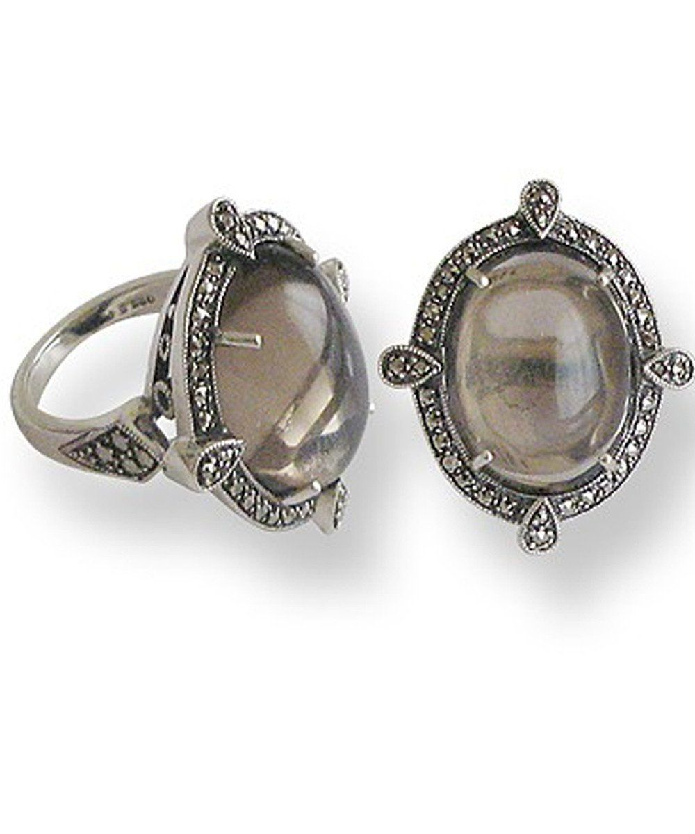 big-ring-cabochon-quartz-fume-silver-and-marcasites creator art deco