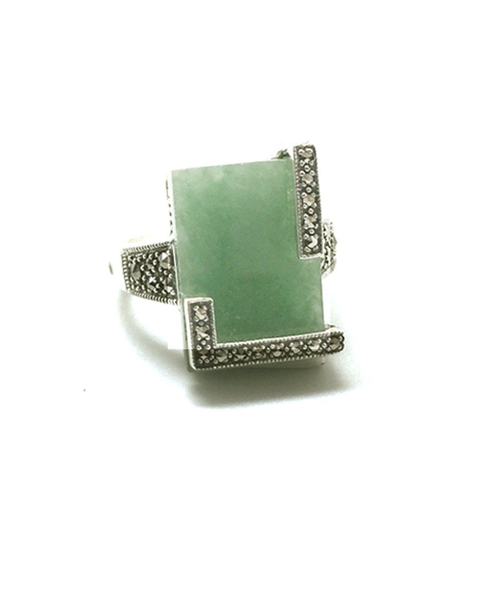 Square ring in jade, silver and marcasite art deco creator