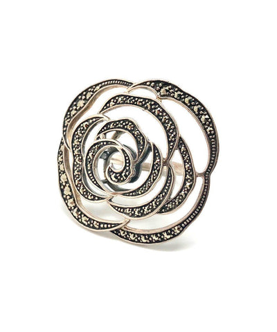 Big ring Camelia silver and marcasites creator art deco