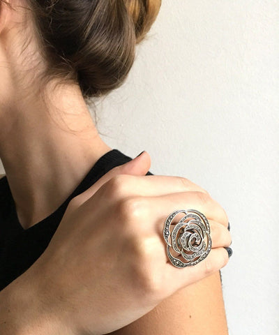 Big ring Camelia silver and marcasites reach art deco creator