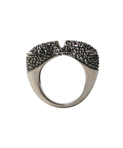 Panthère silver ring, marcasite and ruby ​​art deco designer profile