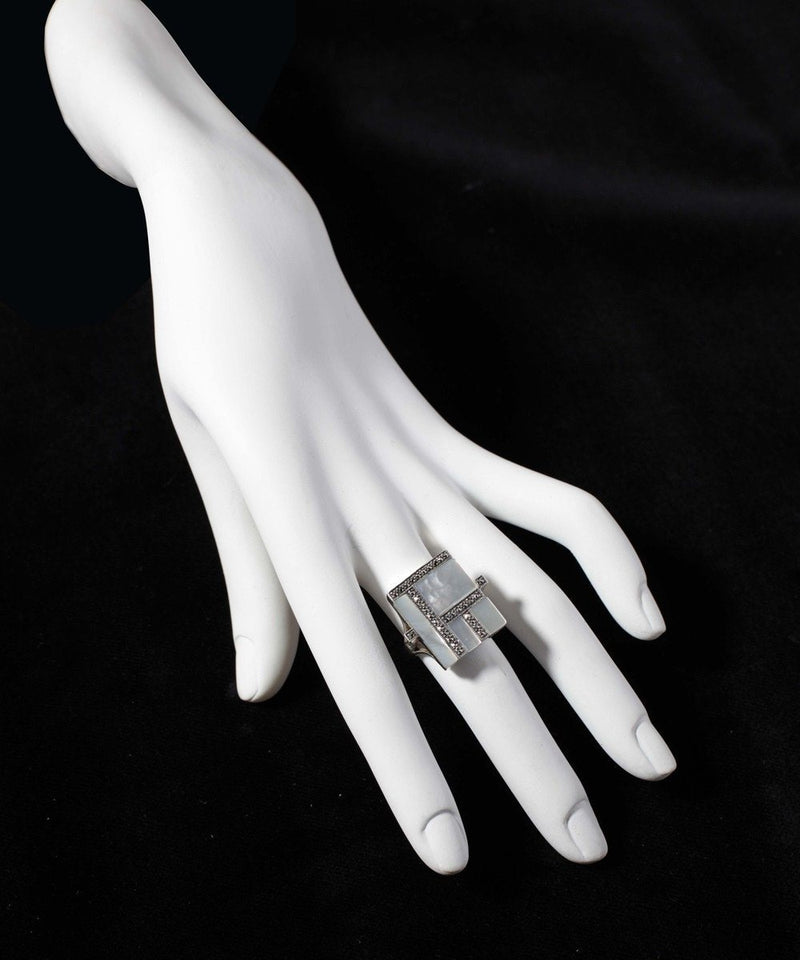 big-ring-nacre-white-in-silver-and-marcasites art deco