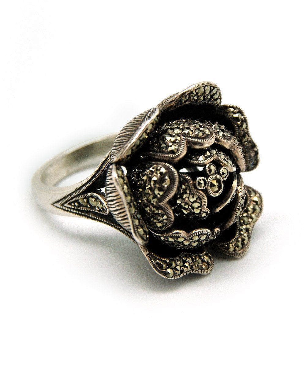 big-ring-flower-art deco-silver-and-marcasites-creator