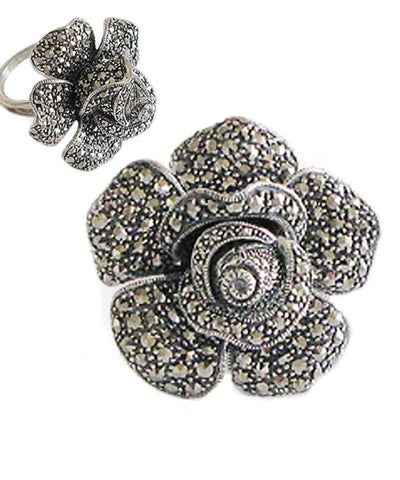 big-ring-flower-silver-and-marcasite creator art deco