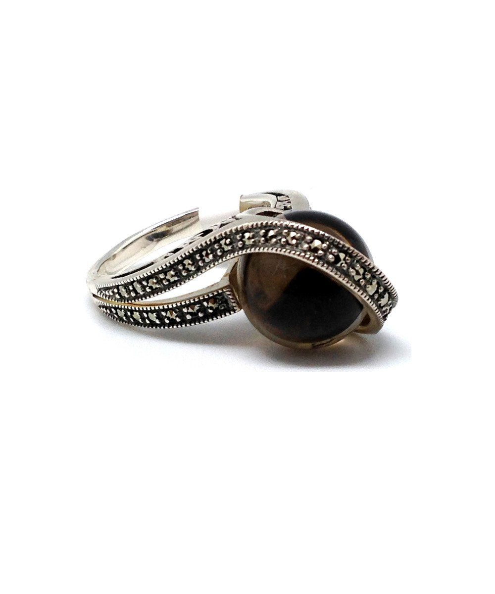 Ball ring in smoked quartz, silver and marcasite art deco creator