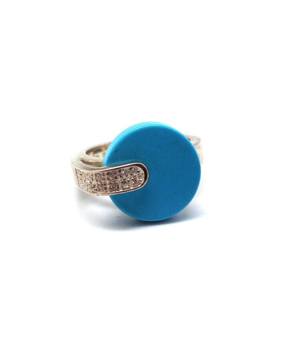 Turquoise dome ring in silver art deco creator
