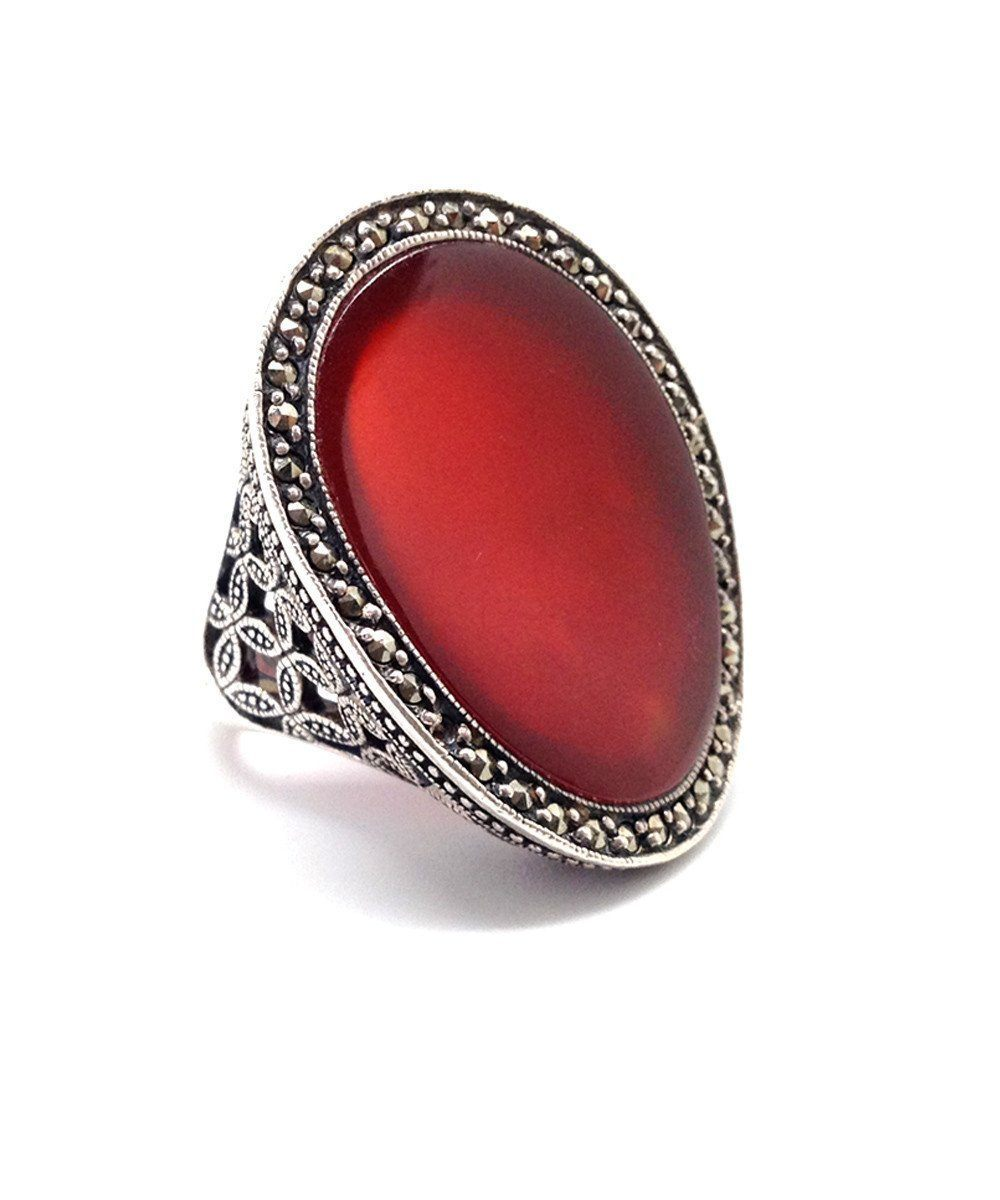 big-ring-cabochon-in-carnelian-silver-and-marcasites art deco