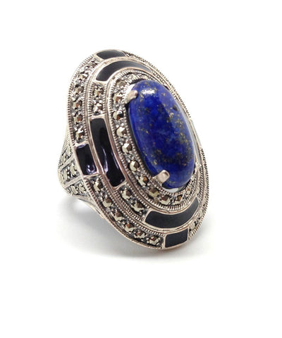 Oval lapis lazuli ring, marcasites and silver art deco creator
