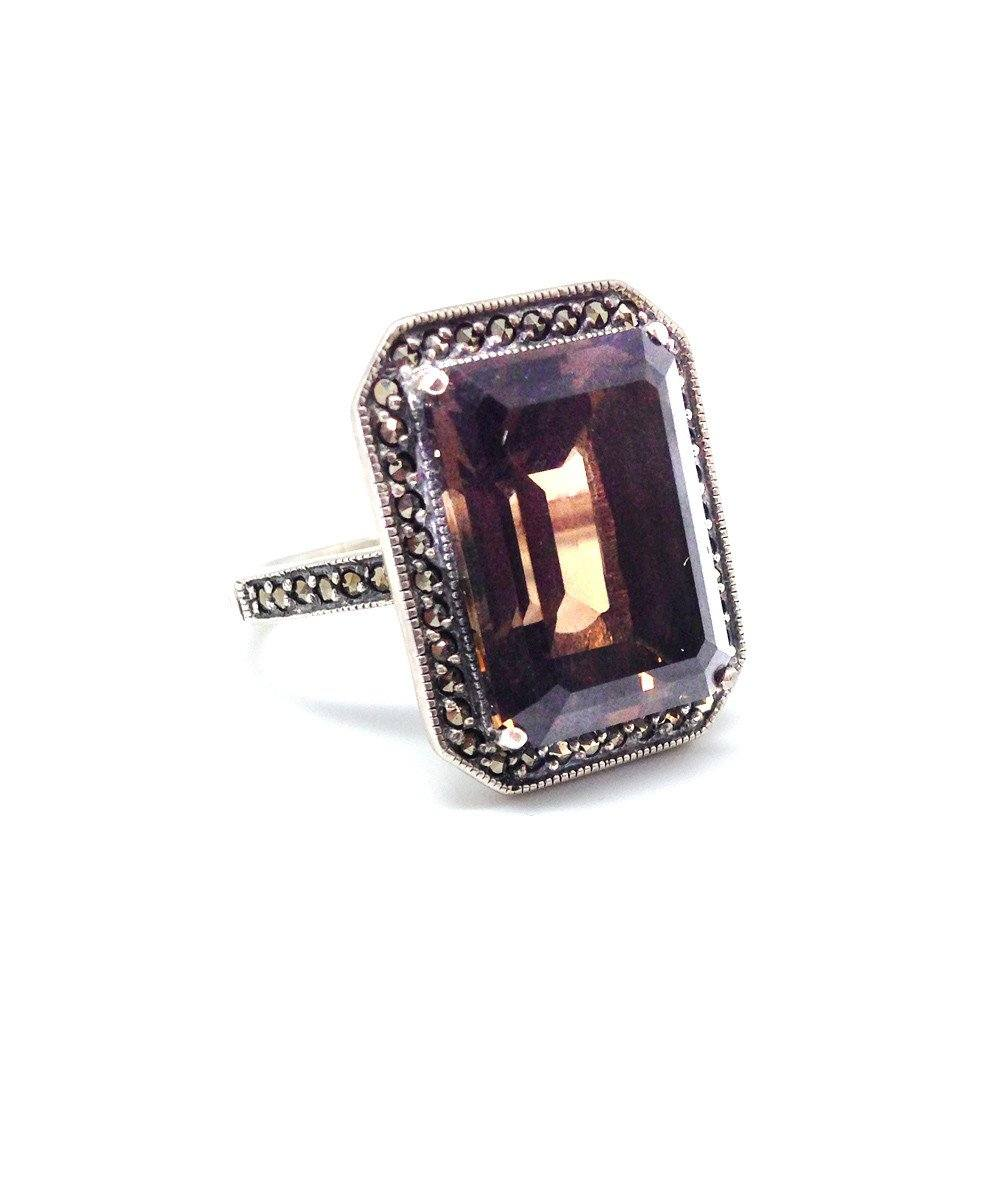 Art deco ring in smoked quartz, marcasite and silver art deco creator